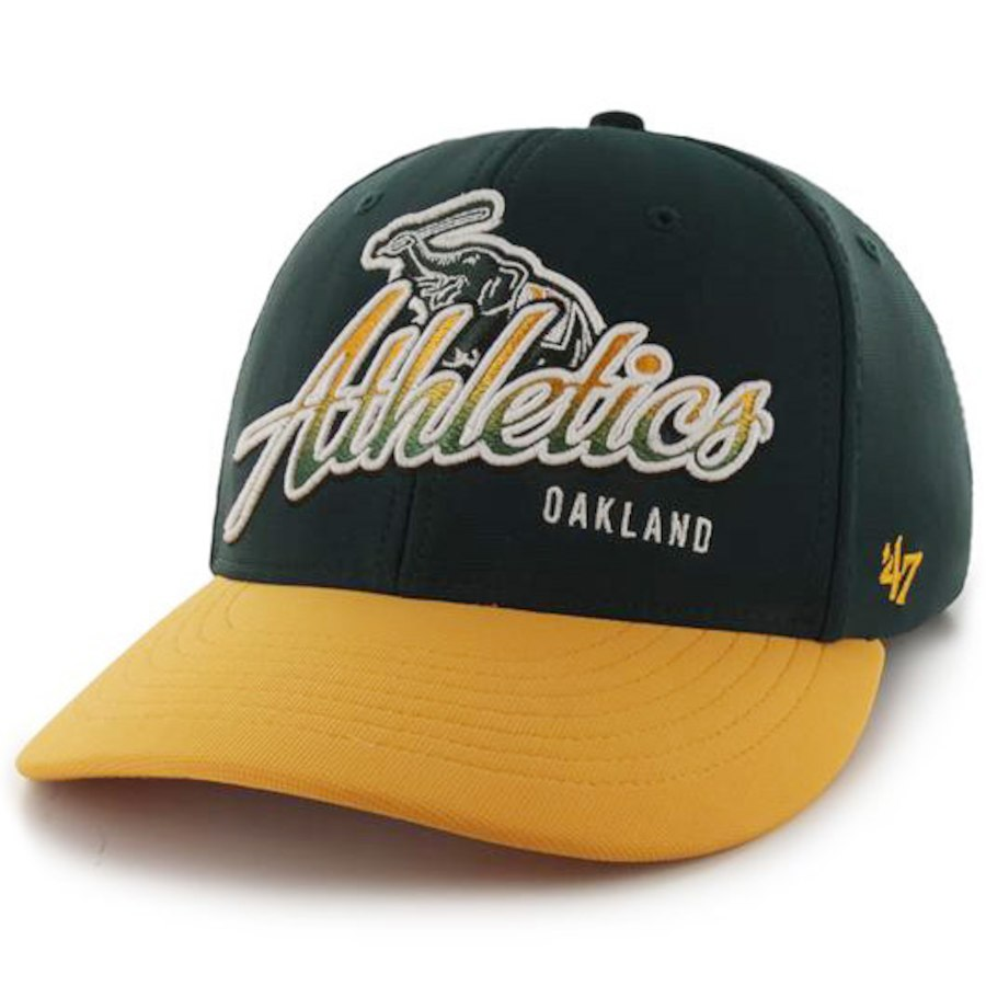 Men's Oakland Athletics '47 Green/Yellow Banks Ottoman Flex Hat In Stock - Sale: $16.99