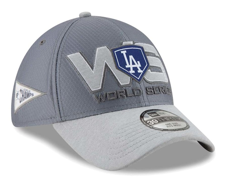 Men's Los Angeles Dodgers New Era Gray 2018 National League Champions Locker Room 39THIRTY Flex Hat