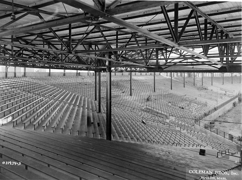 The grandstand was extended down the left-field line, replacing the space once occupied by the wooden bleachers that had burnt down in 1926.  (boston.redsox.mlb.com)
