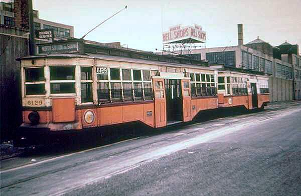 Boston MTA Center-Entrance Car 6129 at Braves Field in the early 1950s