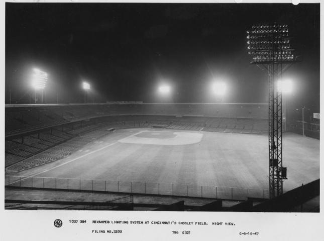 Crosley Field Where The Lights Came On Major League Baseball