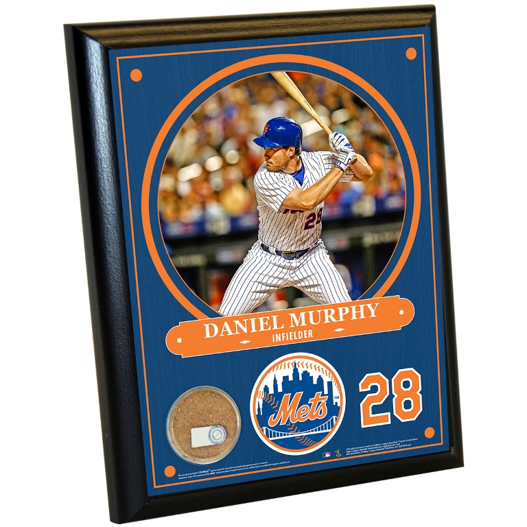 NEW YORK METS DANIEL MURPHY 8X10 PLAQUE WITH GAME-USED DIRT FROM CITI FIELD