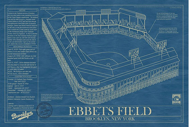 Ebbets field the house that charlie built ballpark blueprints baseball wall art httpuncommongoods malvernweather Image collections