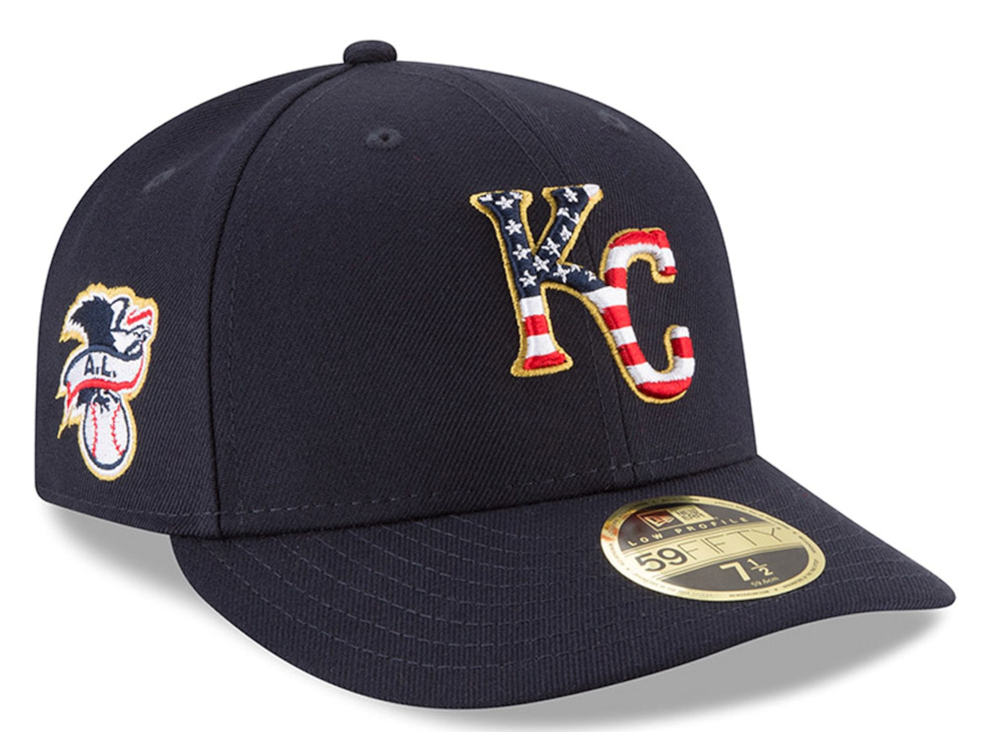 Kansas City Royals New Era 2018 Stars & Stripes 4th of July On-Field Low Profile 59FIFTY Fitted Hat – Navy.