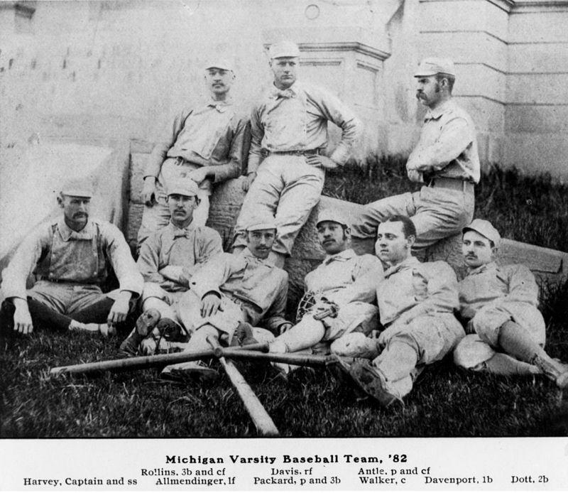 University of Michigan Varsity Baseball Team, 1882-Walker bottom row, fourth from left.