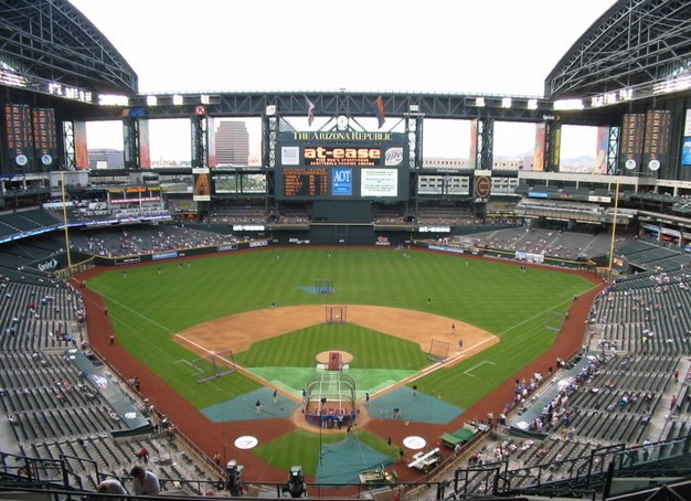 Chase Field Viewed from Press Box Behind Home Plate; www.ballparkreviews.com