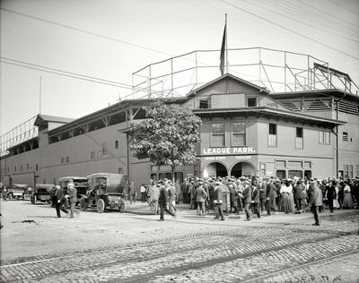 League Park was built at the same time as Philadelphia's Baker Bowl which is sometimes called progenitor of this class Ballparks. The stadium was rebuilt for the 1910 season and in 1946 the owner renamed the park