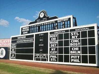 Today's board has hand-operated functions, just like the original. Scores are dropped in by boys hanging out in the ballpark. And since it seemed appropriate to unite the old with the modern, the scoreboard has been updated with electronics to ensure the hard-to-reach analogue clock always shows the correct time.