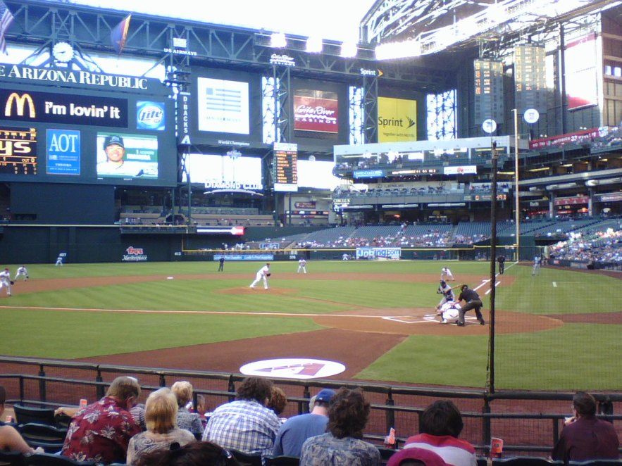 View from Third Base side showing dirt path between home plate and pitcher.