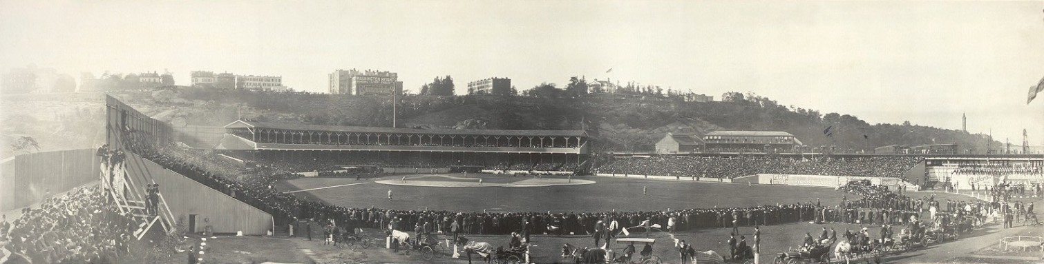 Polo Grounds-1905. The Morris-Jumel Mansion is on the upper right on top of Coogan's Bluff